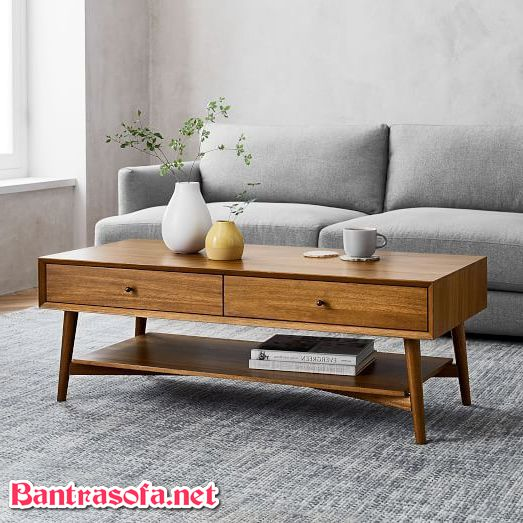 bàn trà chân gỗ có ngăn kéo