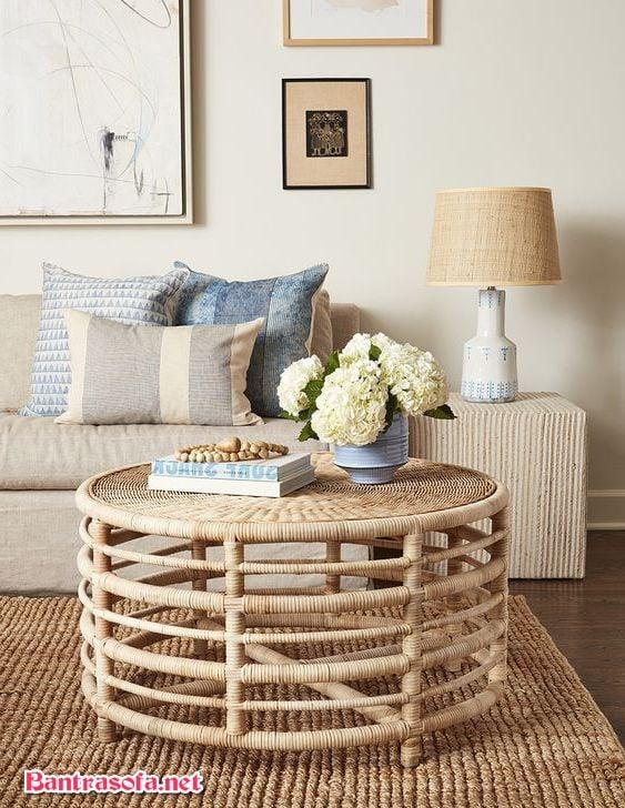 bàn trà mây tre đan decor