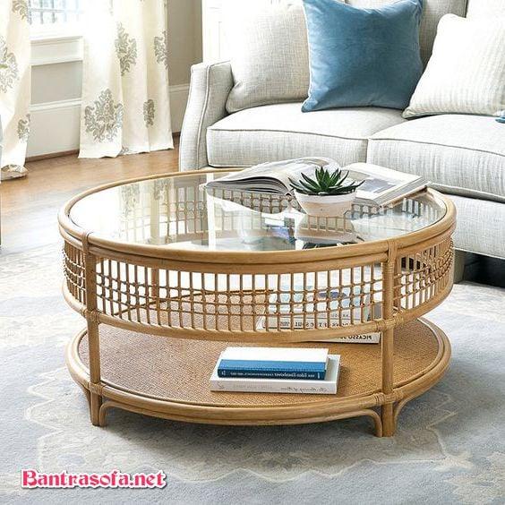 bàn trà decor mây tre đan