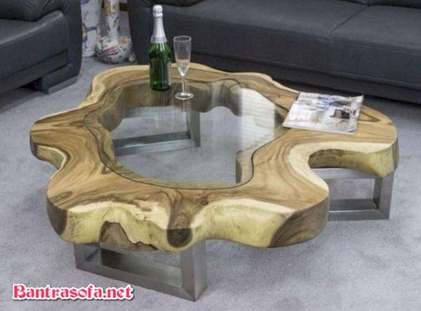 bàn trà gốc cây decor mặt kính