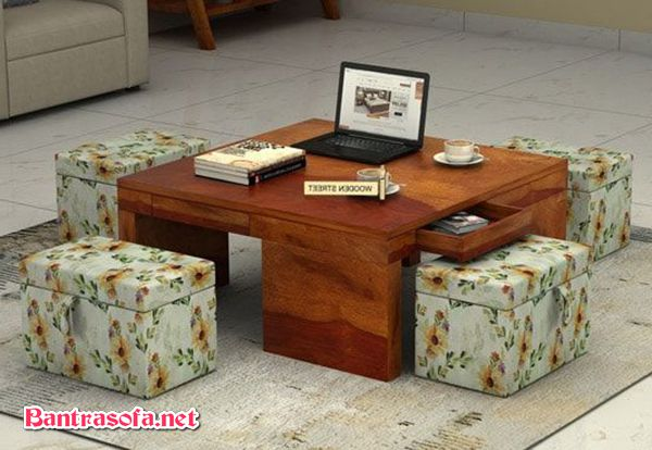 bàn trà sofa decor xếp gọn
