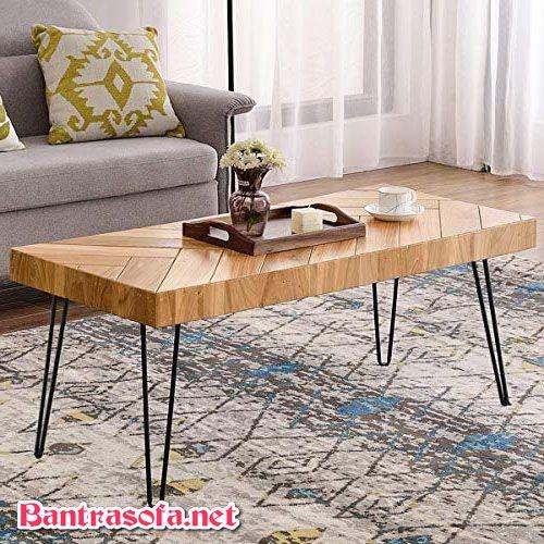 bàn uống nước bằng gỗ tự nhiên chân sắt
