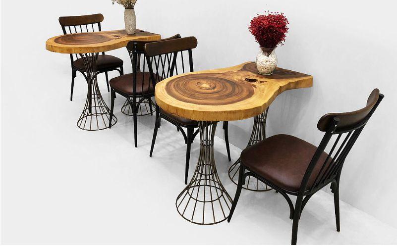 bàn cafe bằng gỗ me tây