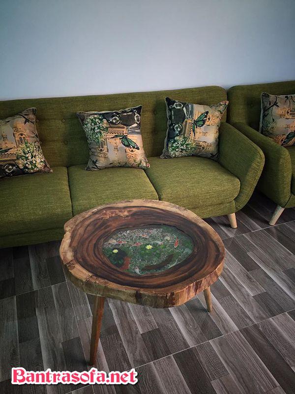 bàn gỗ me tây vẽ thủy sinh bằng keo epoxy