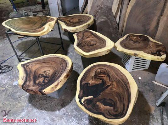 giá mặt bàn gỗ me tây tròn