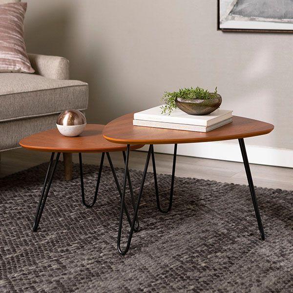 bàn trà đôi tam giác chân sắt mặt gỗ