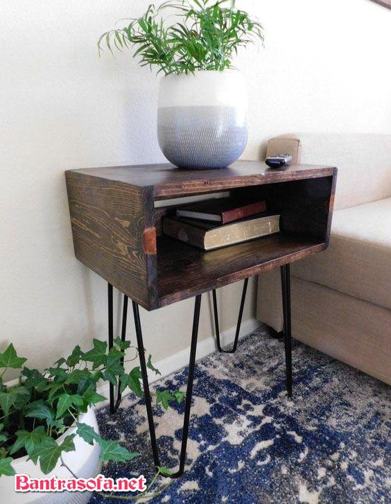 bàn trà vuông góc kiêm đôn trang trí