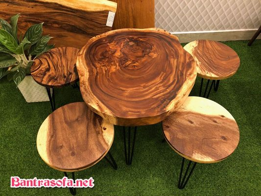 bàn tròn bằng gỗ me tây
