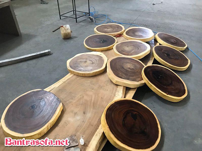 mặt bàn tròn gỗ me tây nguyên tấm
