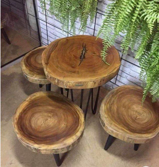 bộ bàn ghế tròn bằng gỗ me tây