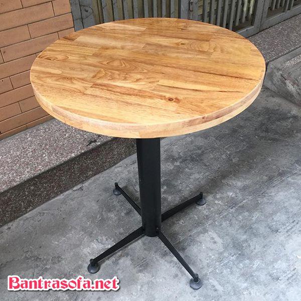 bàn trà tròn gỗ cao su tự nhiên