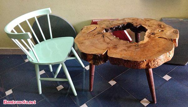 bàn trà gỗ cao su chân gỗ