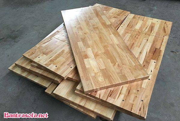 mặt bàn ăn gỗ cao su hình chữ nhật