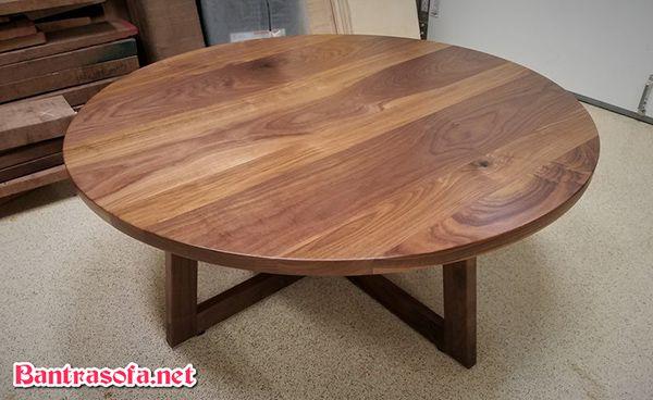 mặt bàn trà tròn bằng gỗ óc chó