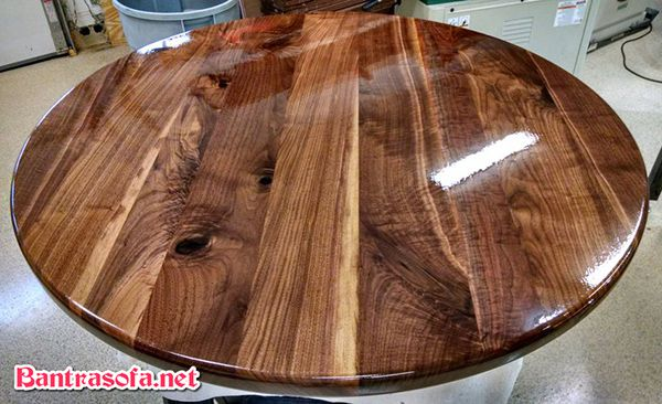 mặt bàn trà tròn gỗ óc chó