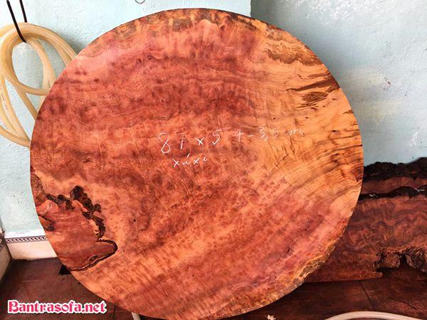 mặt bàn gỗ xá xị tròn tự nhiên