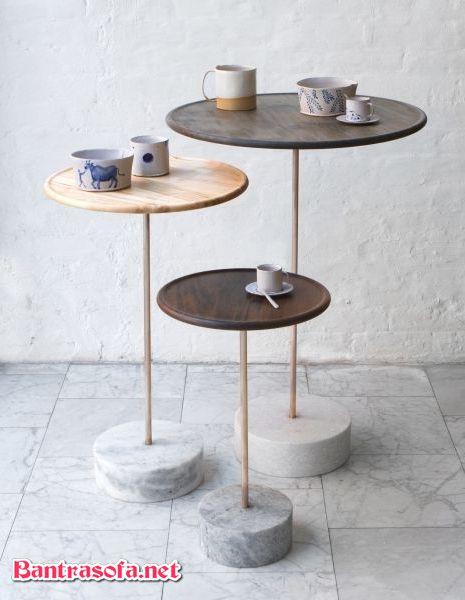 bộ bàn trà 3 bàn chân đá mặt gỗ