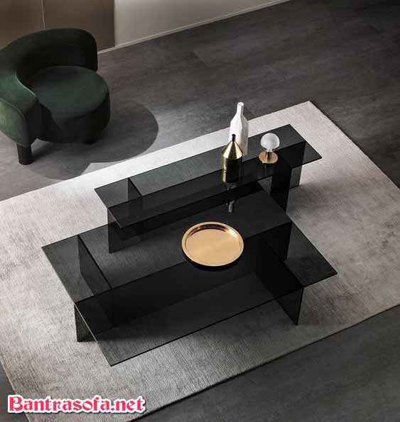 bàn trà đôi mặt kính màu đen