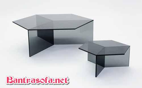 bàn trà sofa đôi mặt kính đen