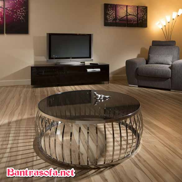 bàn trà sofa mặt kính đen kiểu lồng chim