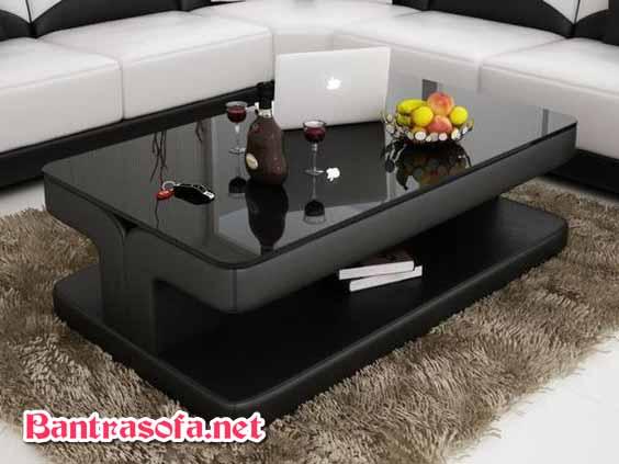 bàn trà sofa mặt kính đen hình chữ nhật