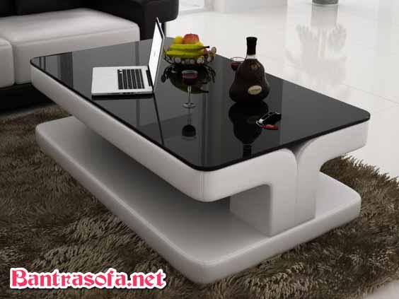 bàn sofa mặt kính đen hiện đại