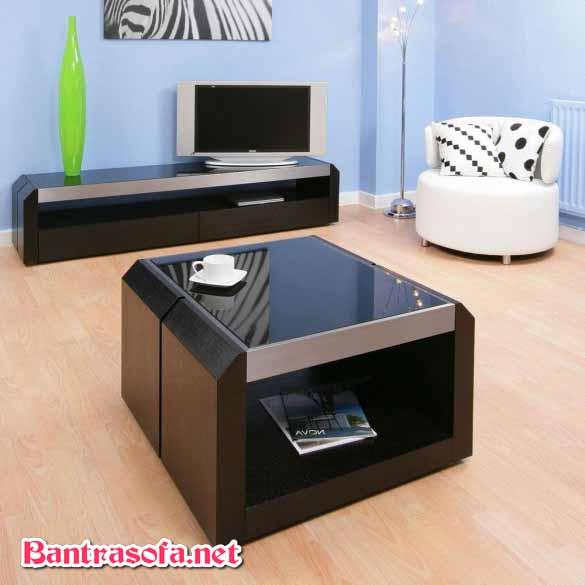 bàn trà sofa kính đen bằng gỗ