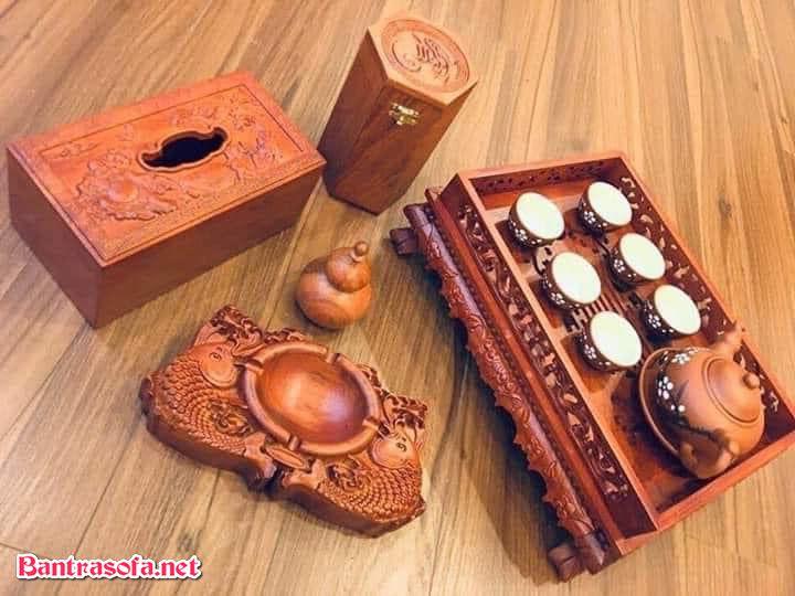 bộ khay trà gỗ hương 5 món đi kèm