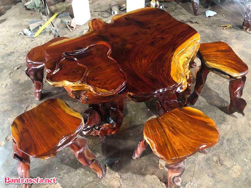 bộ bàn trà gỗ hương nguyên khối