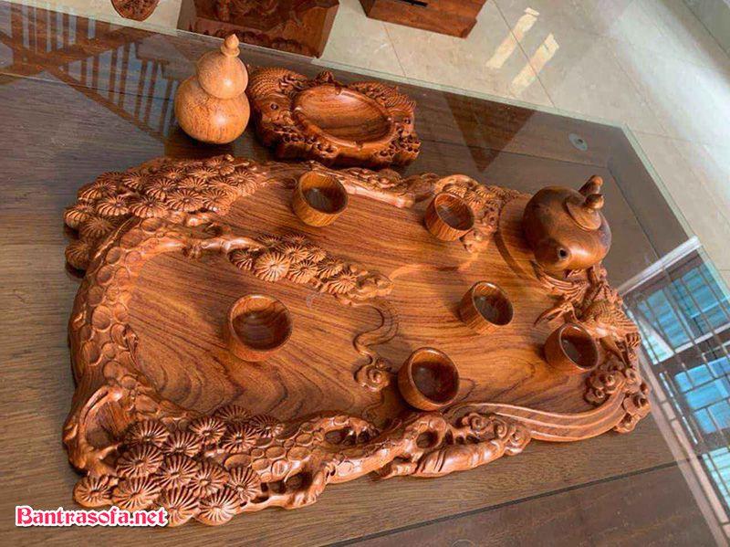 khay trà gỗ hương chạm trổ