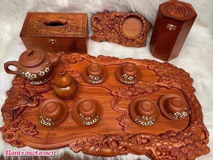 bộ bàn trà gỗ hương 5 món