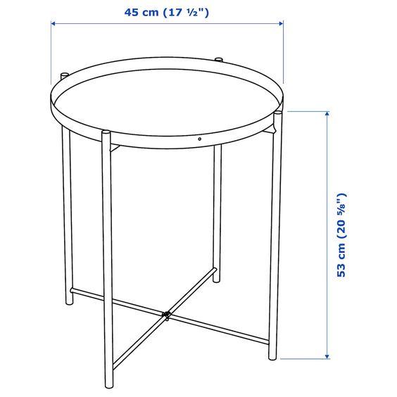 Kích thước thông số bàn trà Gladom của Ikea dùng để bên cạnh ghế sofa.