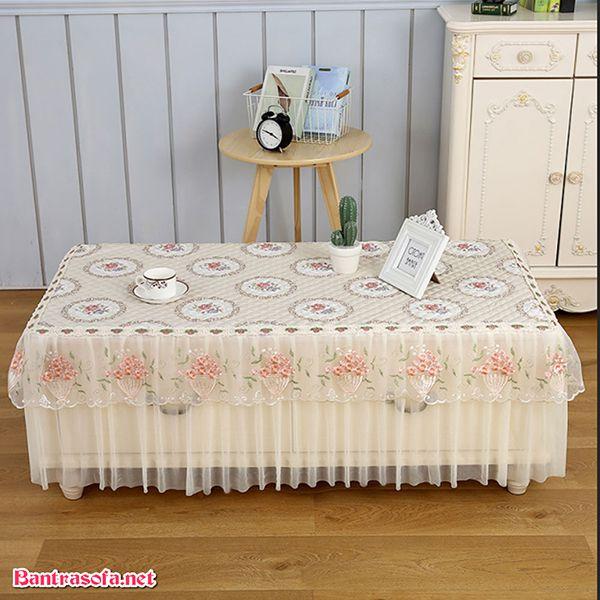 khăn trải bàn trà vải voan
