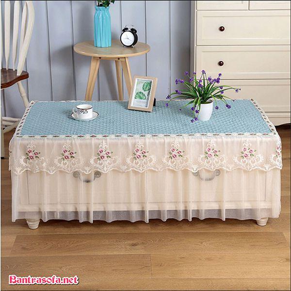 khăn trải bàn trà dạng vải voan
