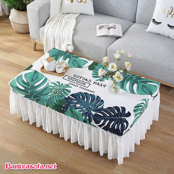khăn trải bàn trà sofa họa tiết hoa lá cành