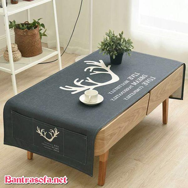 khăn trải bàn sofa đẹp màu xám