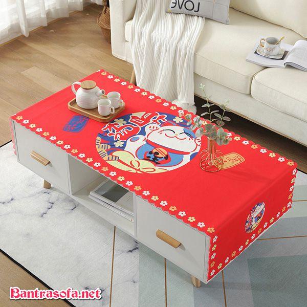 Mẫu khăn trải bàn trà màu đỏ