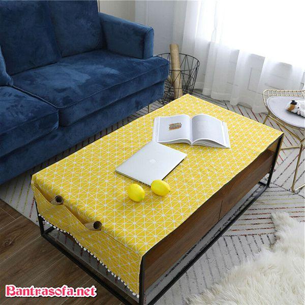 khăn trải bàn sofa màu vàng