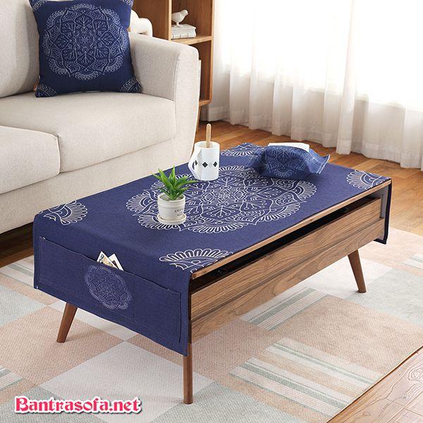 khăn trải bàn trà đẹp màu xanh