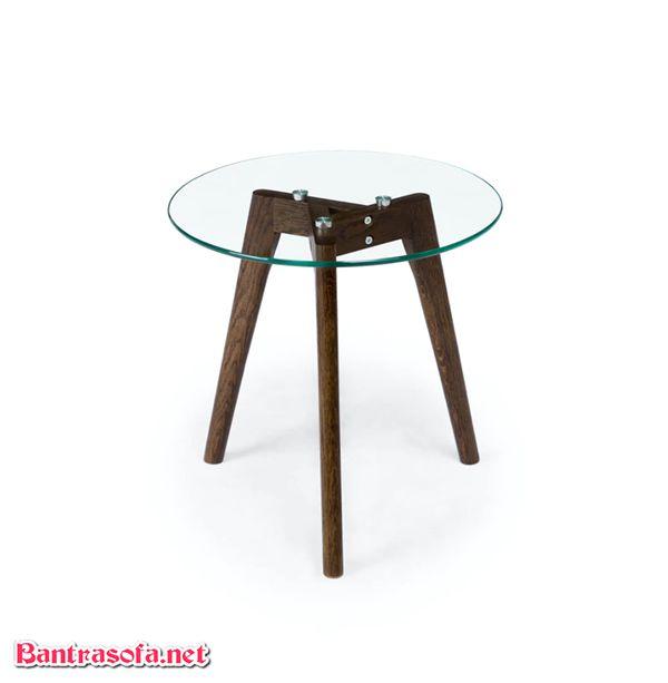 bàn trà mặt kính tròn