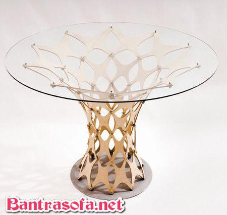 bàn trà mặt kính chân inox mạ vàng tròn
