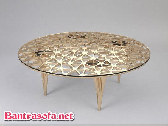 bàn trà mặt kính tròn chân inox mạ pvd