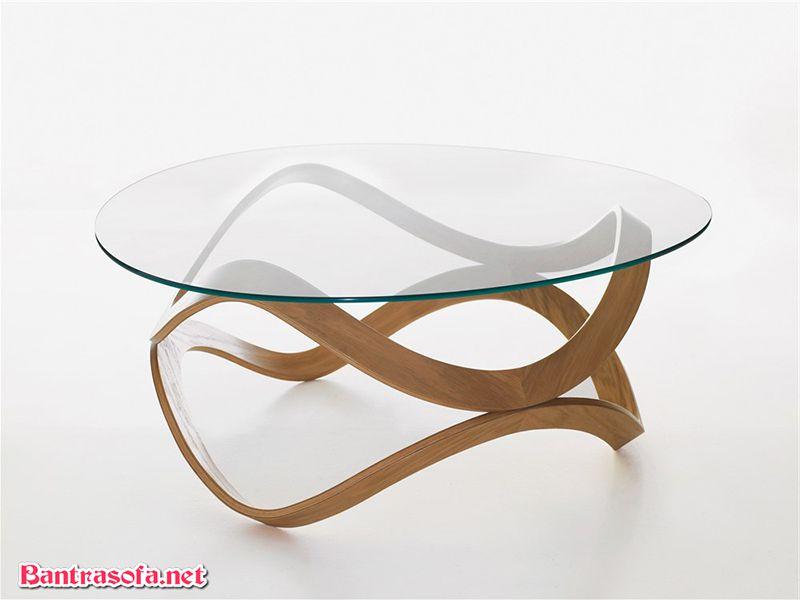 bàn trà tròn mặt kính chân gỗ