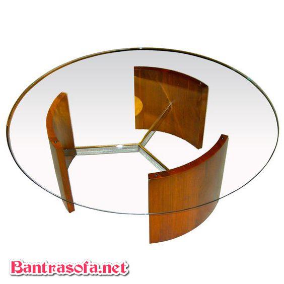 bàn trà mặt kính tròn chân gỗ