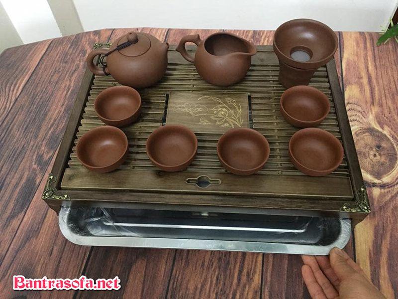 khay hứng nước trà bằng tre