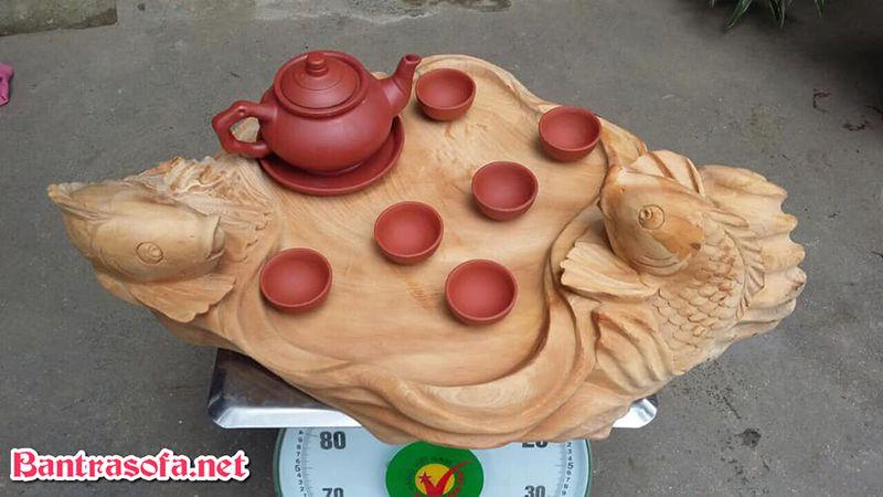 khay đựng trà cá chép bằng gỗ