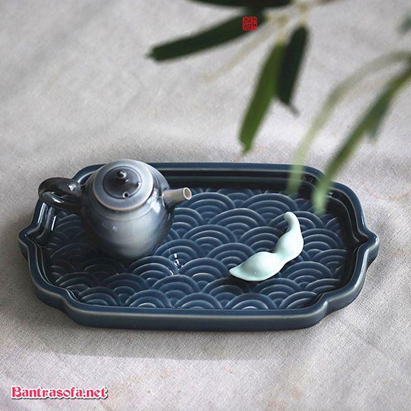 khay đựng ấm chén trà bằng sứ