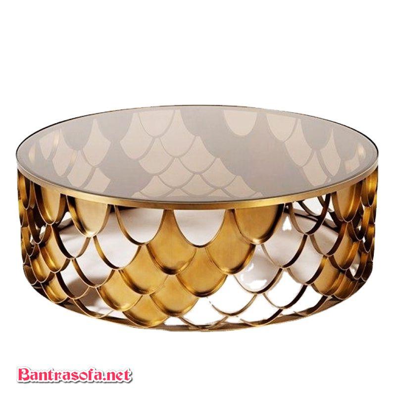 Bàn trà khung sắt mạ vàng pvd