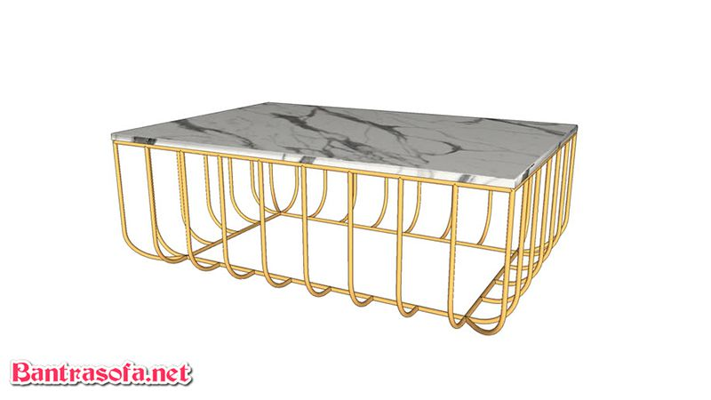 bàn trà mặt đá chân inox mạ vàng