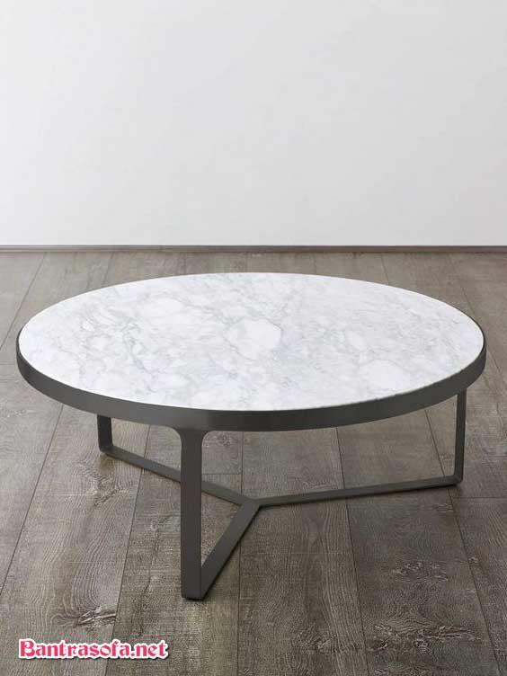 bàn trà tròn mặt đá chân thấp